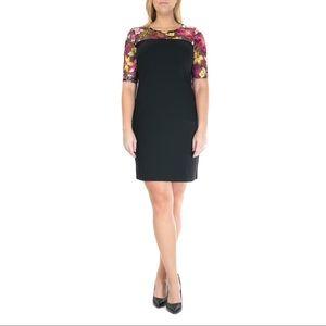 Nina Leonard Floral Lace Embroidered Sheath Dress